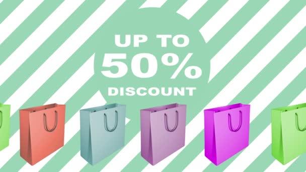 50 procent prodej cedulka s animovaným nákupní tašky