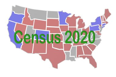 Census 2020 concept sign concept illustration on the map of United States