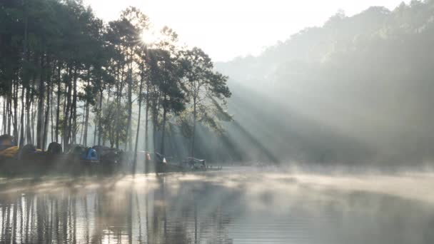Morning atmosphere and sunlight at lake Pang Ung Forestry Plantations, Maehongson Province, North of Thailand Asia. Tourist attractions relax with nature. Slow Motion