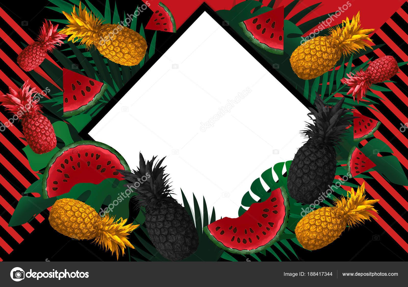 Fondo Con Piña Fruta Sandía — Foto de stock © Vitalina_G #188417344
