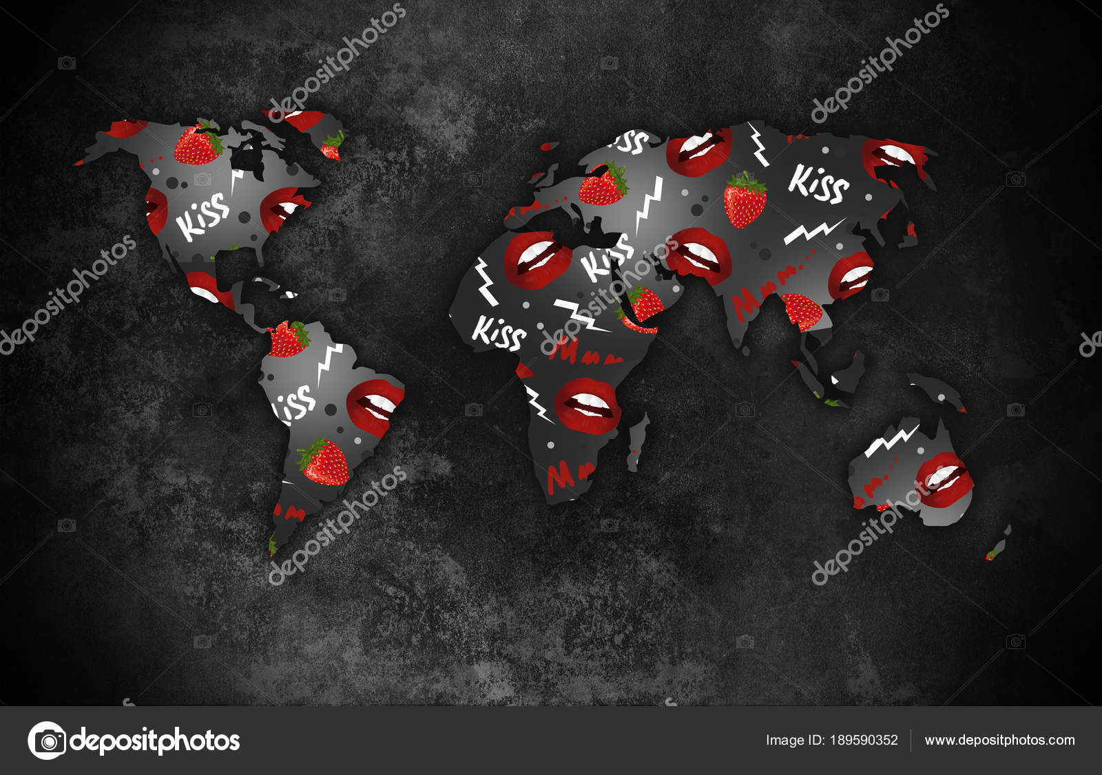 Silhouette World Map Dark Background Art Stock Photo C Vitalina G