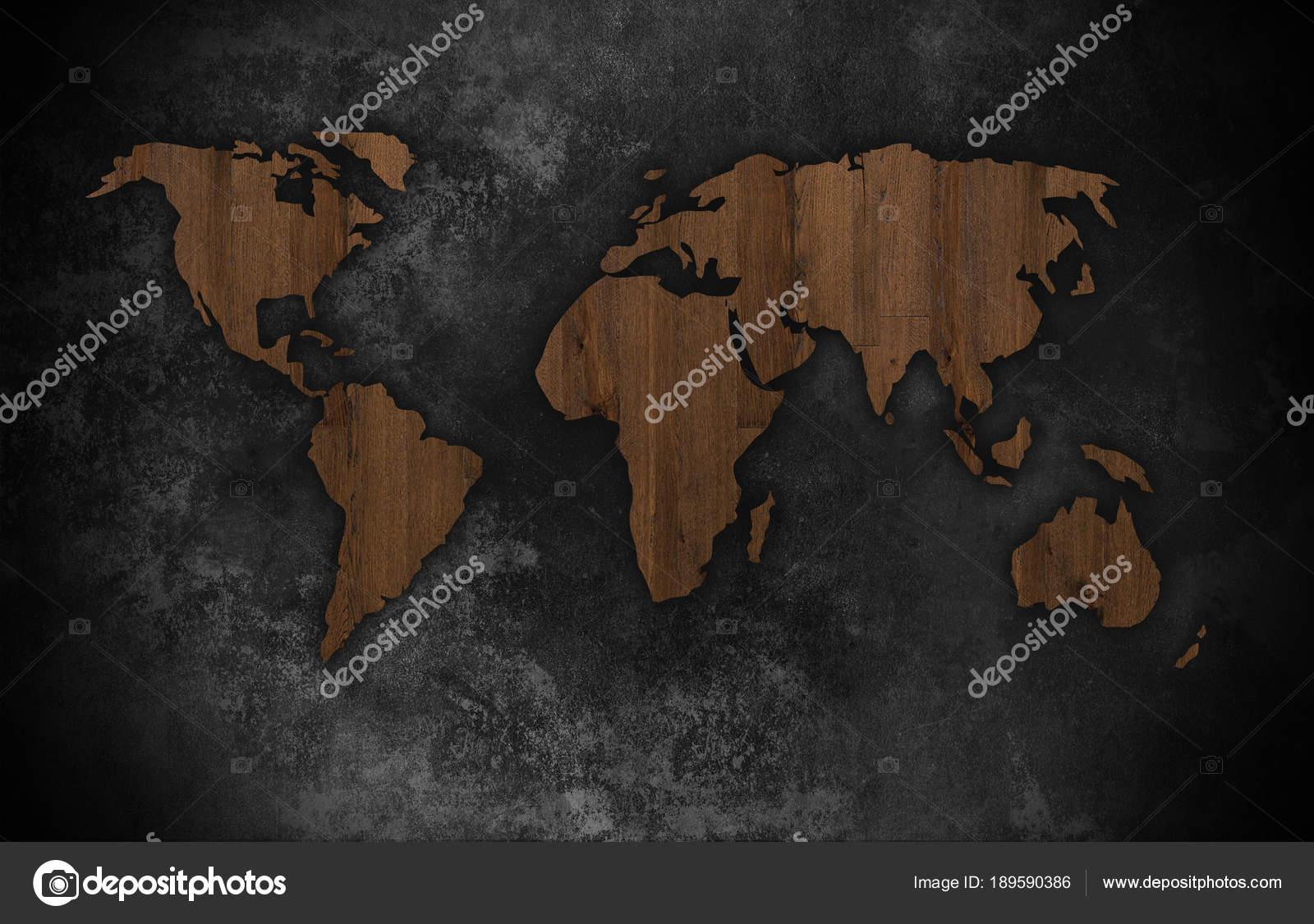 Silhouette World Map Dark Background Art — Stock Photo