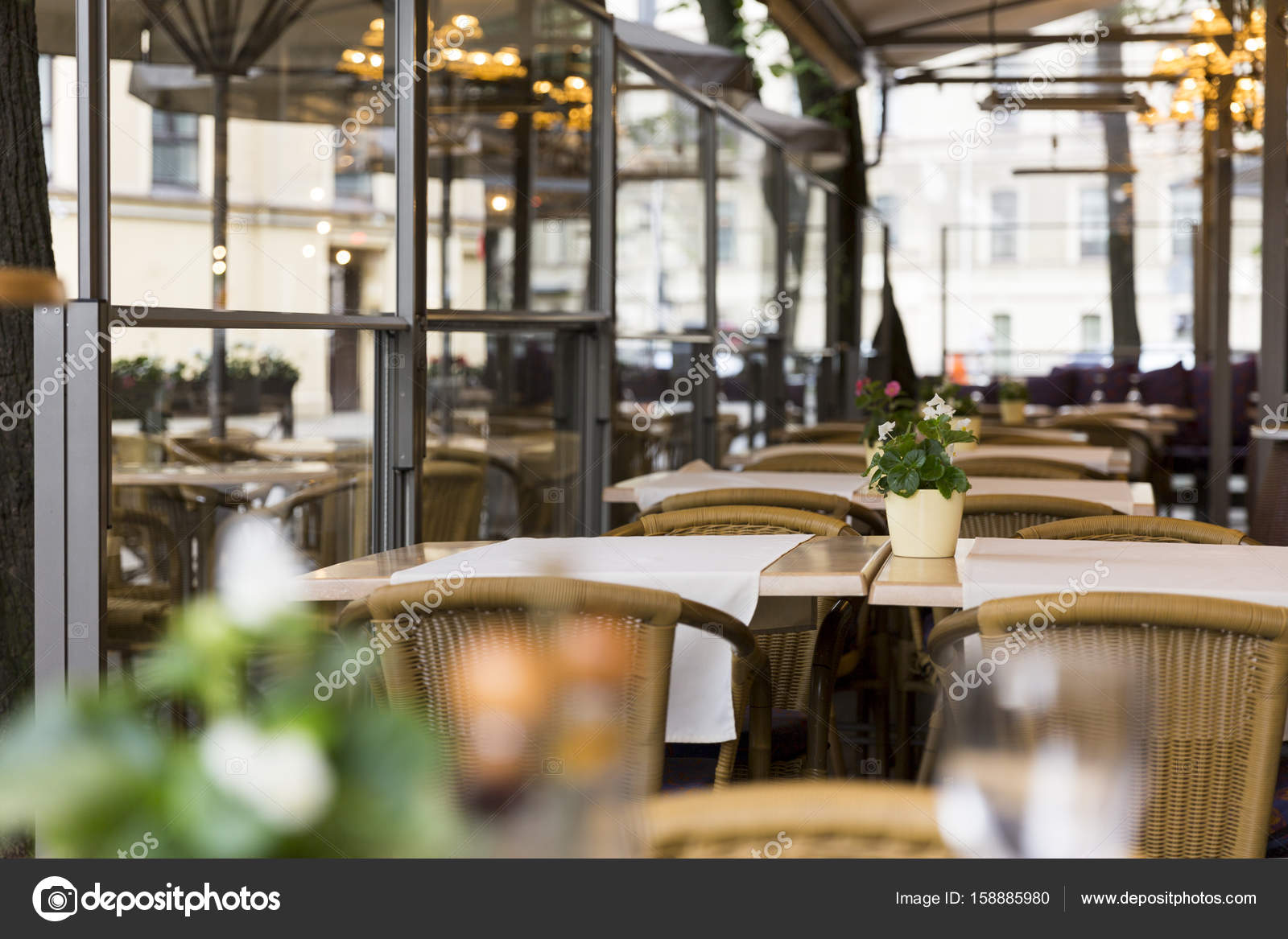 Empty Outdoor Restaurant Terrace Interior Stock Photo C Artursfoto1 158885980