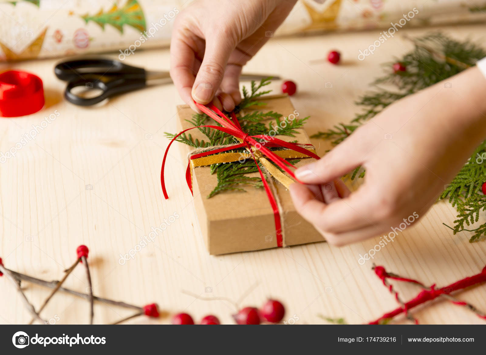 Women making Christmas gifts at home by hand before holidays — Stock ...