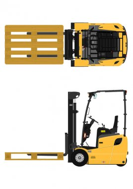 RCounterbalance forklift on a white background. Flat vector