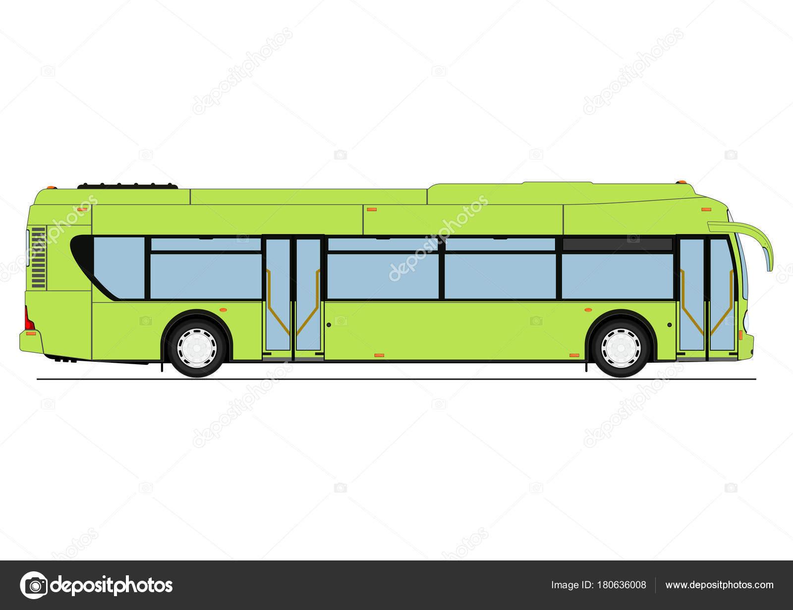 Nice Cartoon City Low Floor Bus Side View Flat Vector U2014 Stock Vector