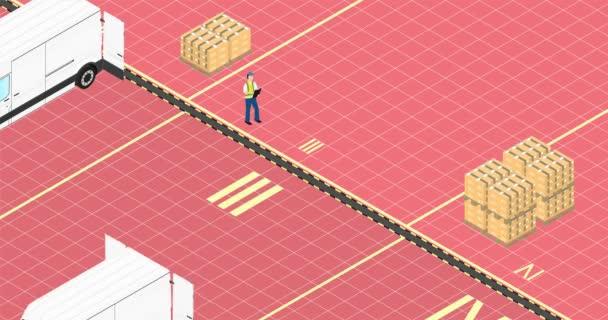 Logistický koncept. Žlutý vysokozdvižný vozík nakládá paletu s krabicemi do náklaďáku. Animace zjednodušeného izometrického pohledu.
