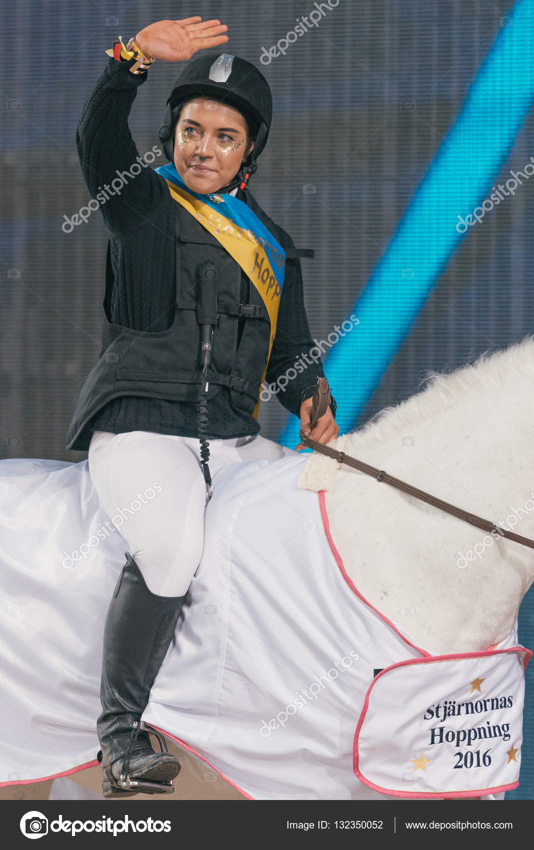 Winner Maxida Marak At The Celebrity Jumping In The Sweden Inter Stock Photo