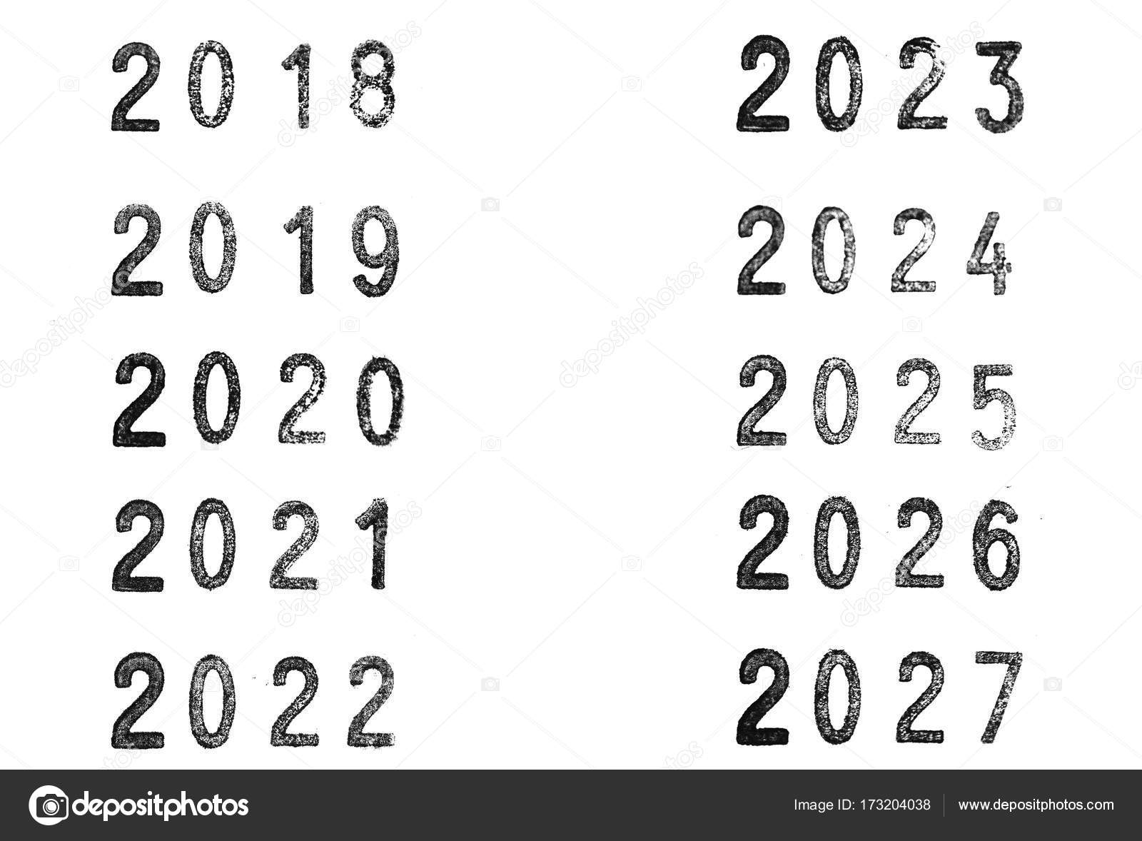 Stamped years with a rubber stamper from 2018 to 2027 — Stock Photo