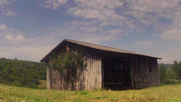 régi fa pajta panoráma timelapse az országban