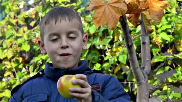 Boy eating apple and smiling in garden