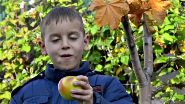 Fiú étkezési alma és mosolyogva kertben
