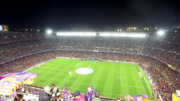 Pohled na stadionu Nou Camp na fotbalové utkání mezi Fc Barcelona a Paris Saint-Germain Champions League Cup