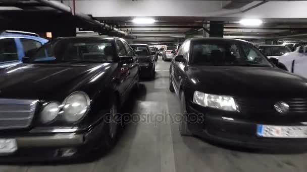 Moving POV at large underground parking