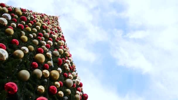 Zdobené vánoční strom na modré obloze