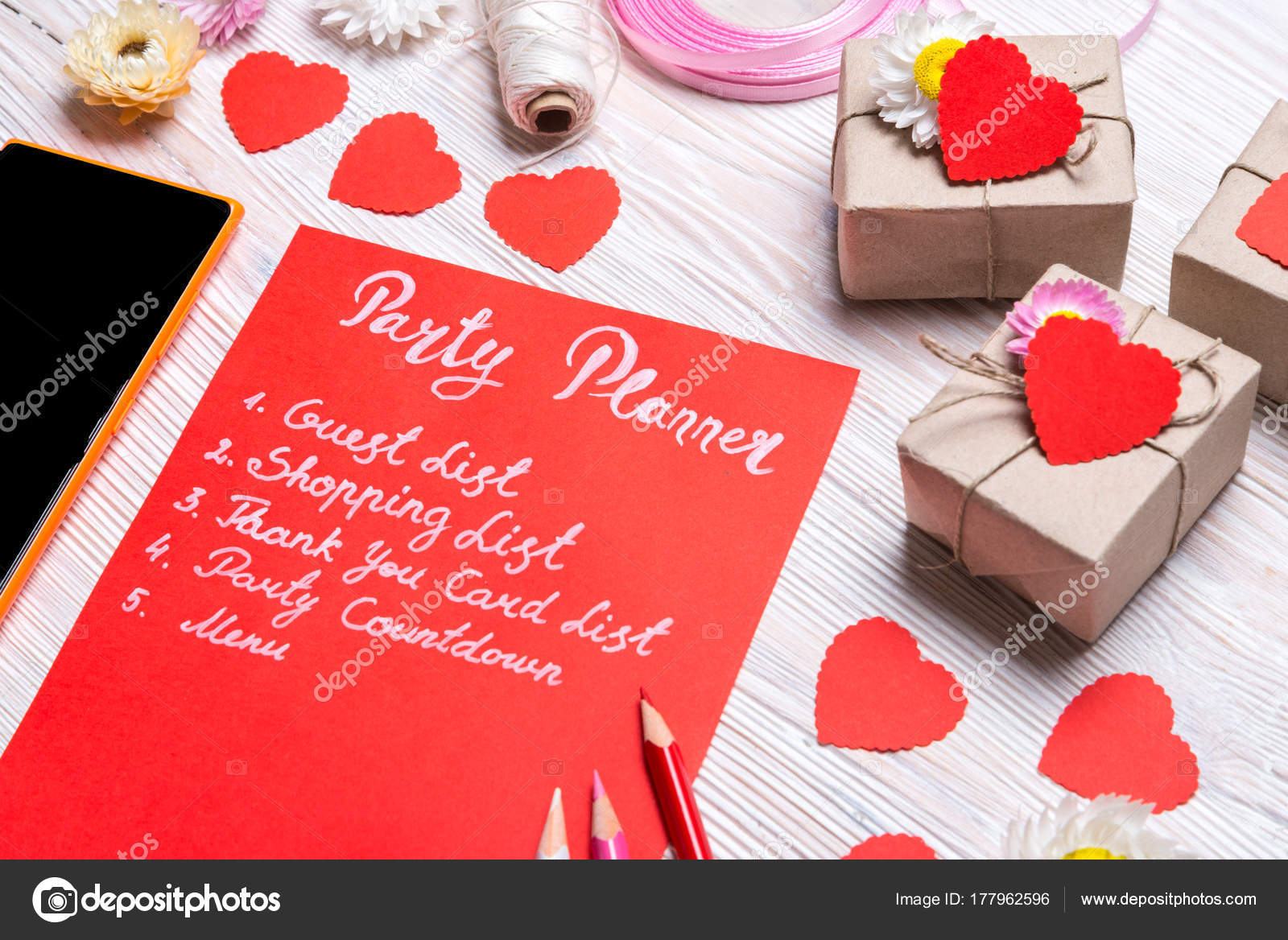 Valentines Day Party Planner List Note Stock Photo C Yumis