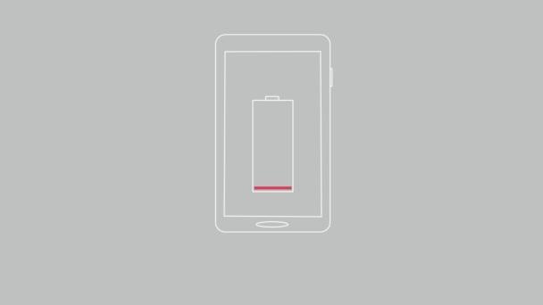 Animált szúró telefon-val alacsony akkumulátor és power bank