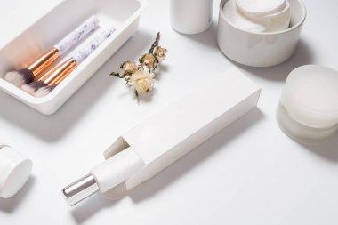 Top view spa beauty skincare cosmetic cream facial mock up tube cream