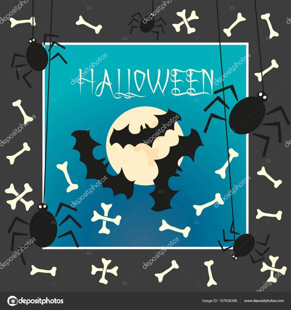 Halloween Karta S Bat Mesic Pavouk Stock Vektor C Lilalove