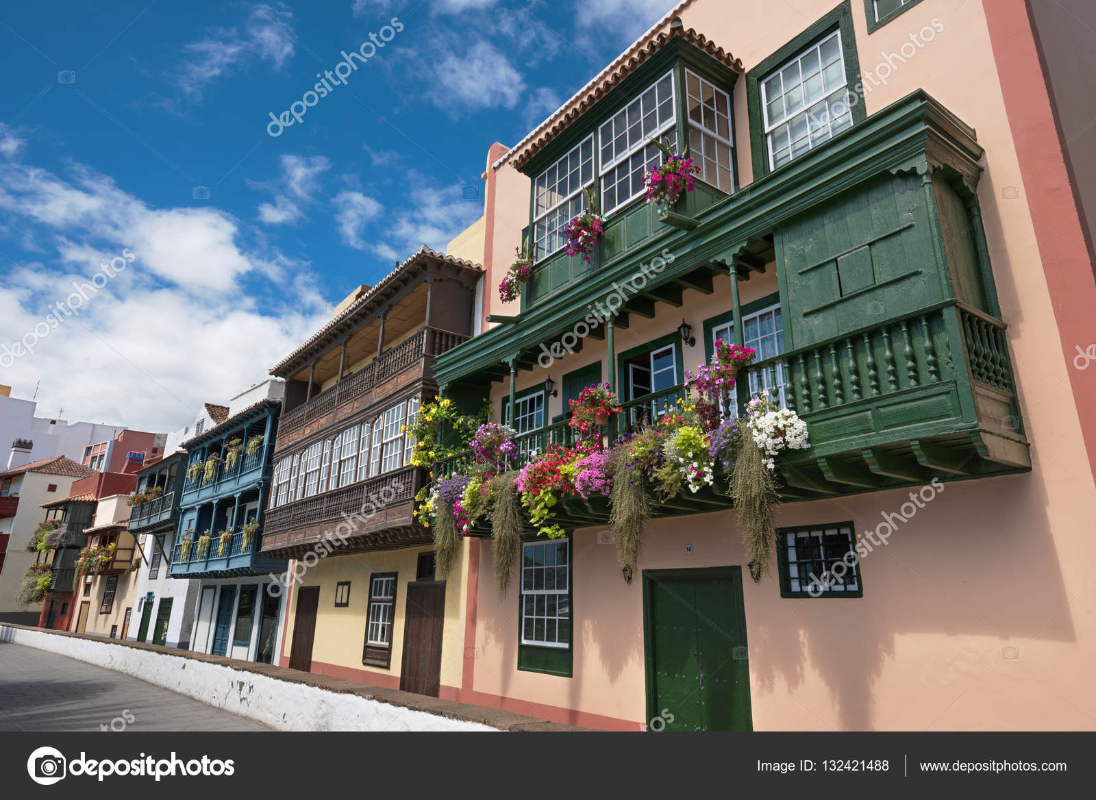 famous ancient colorful colonies balconies decorated with flowers colonial houses facades in santa cruz