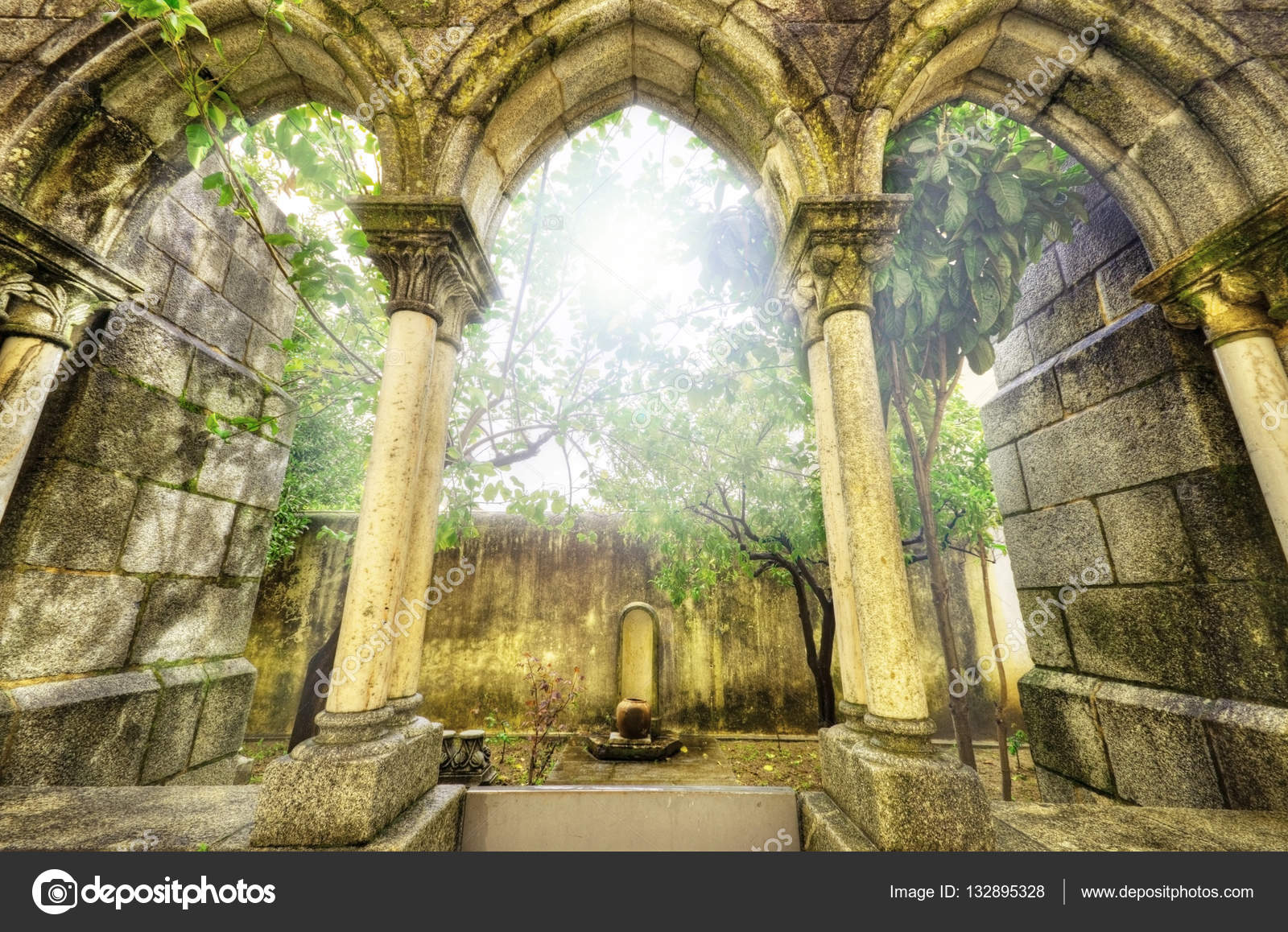 Ancient Gothic Arches In The Myst Fantasy Landscape Evora Portugal