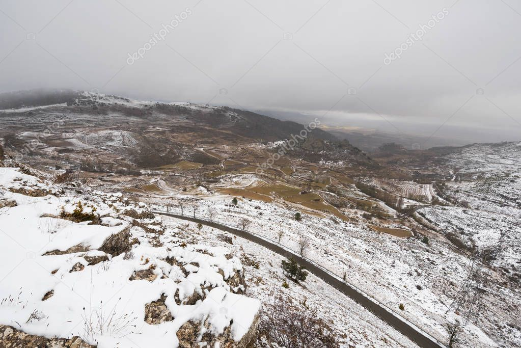 Snowed landscape of Paramo de Masa mountains, in north Burgos province, Spain.
