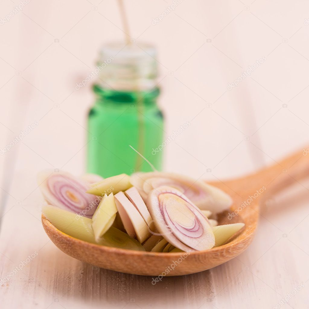 Aromatherapy and Fresh Lemongrass in wooden spoon.