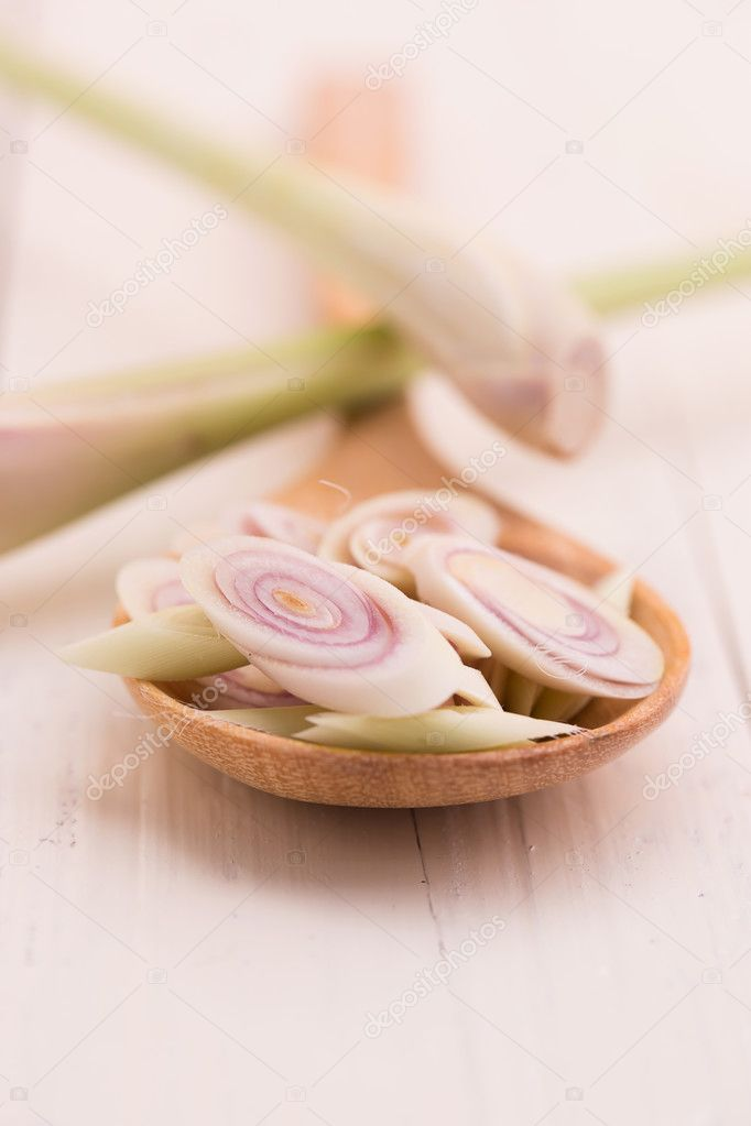 Fresh Lemongrass in wooden spoon