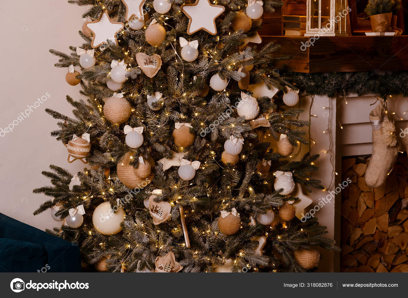 Beautiful Elegant Christmas Tree Decorated With White And Gold Balls With Bows Stock Photo C Ex3malka 318082876