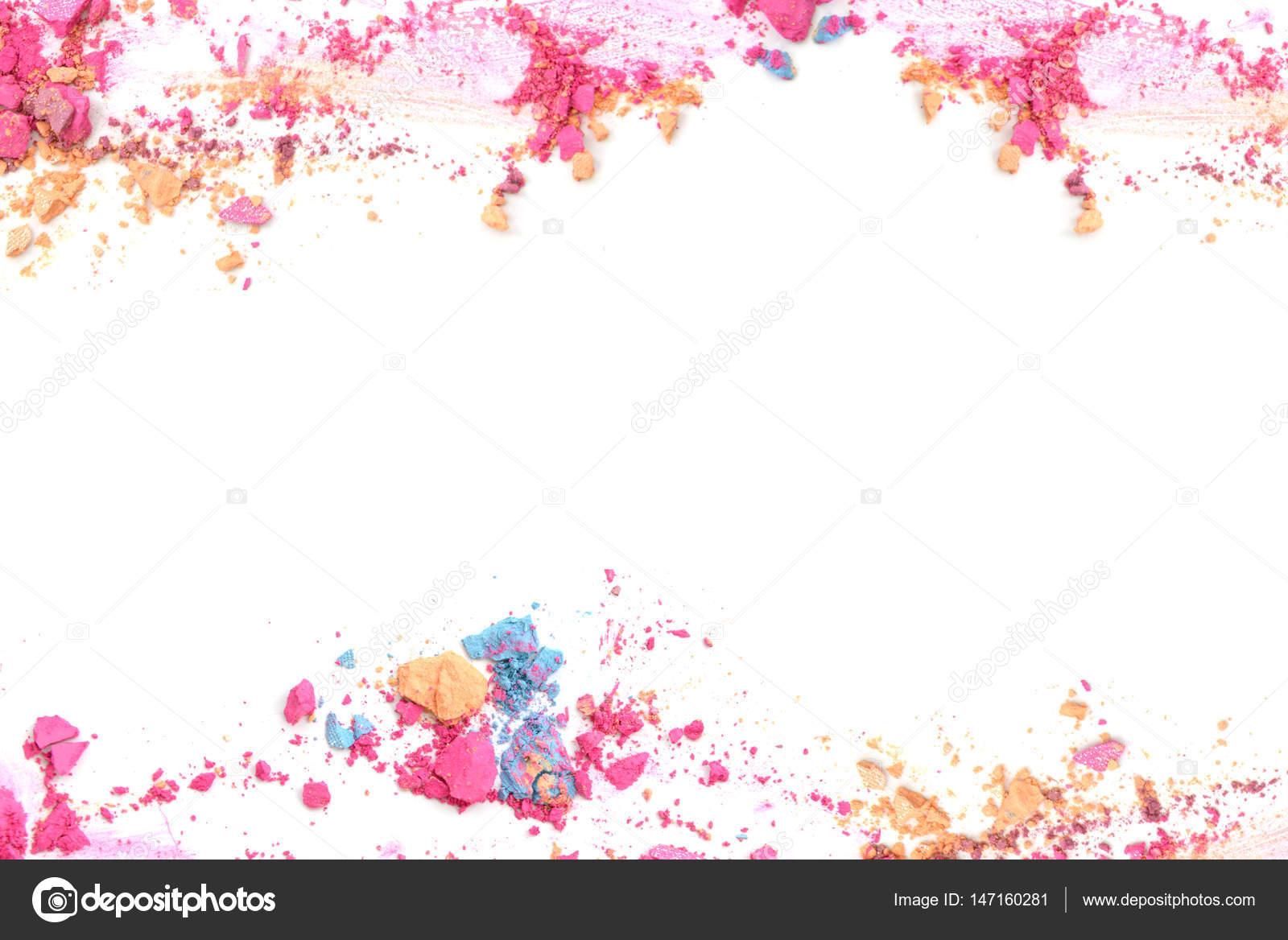 Triturada maquillaje marco de color y frontera con el espacio en ...