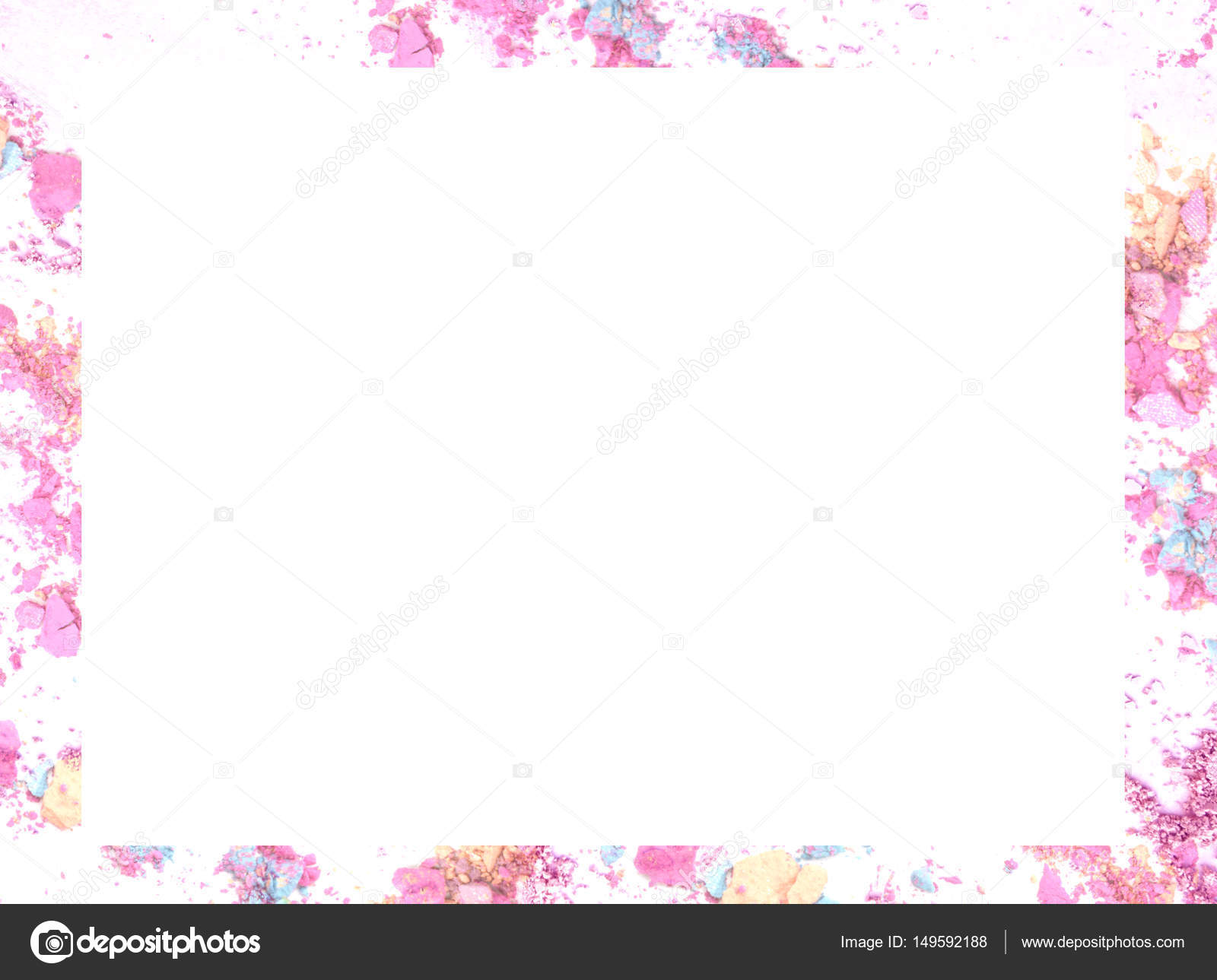 Zerkleinerte Make up Farbe Rahmen und Rand mit Leerzeichen für ...