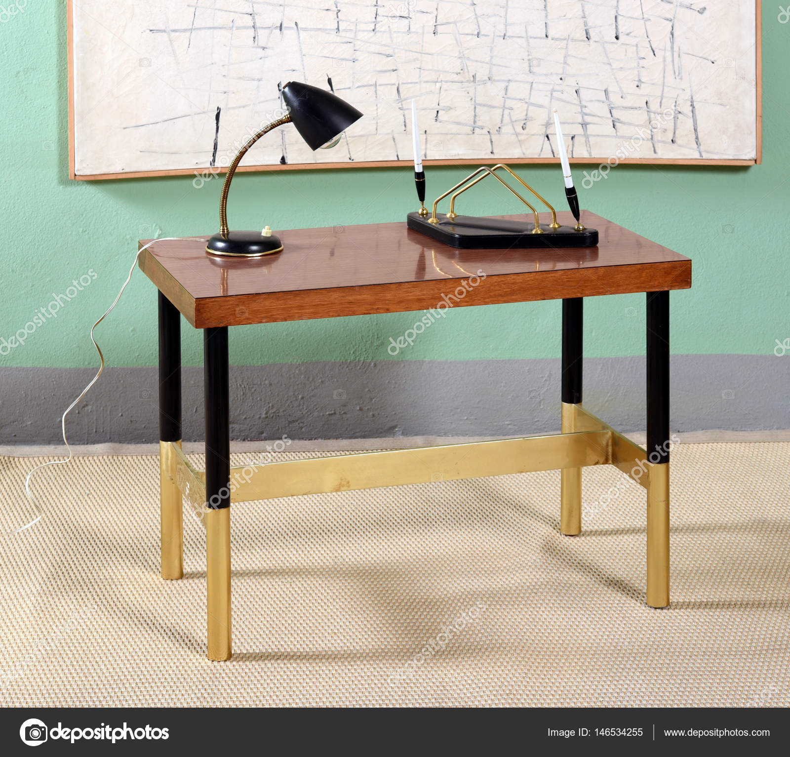 Super Antique Desk In Office With Abstract Artwork Stock Photo Download Free Architecture Designs Embacsunscenecom
