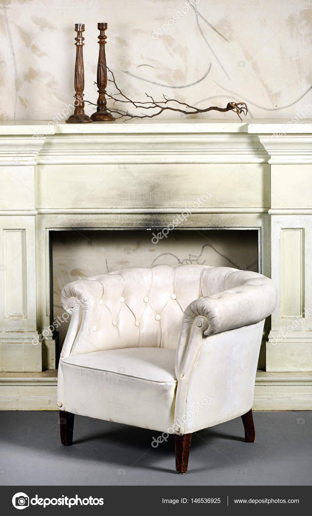 Chaise De Baignoire Ou Fauteuil Cuir Blanc Photo