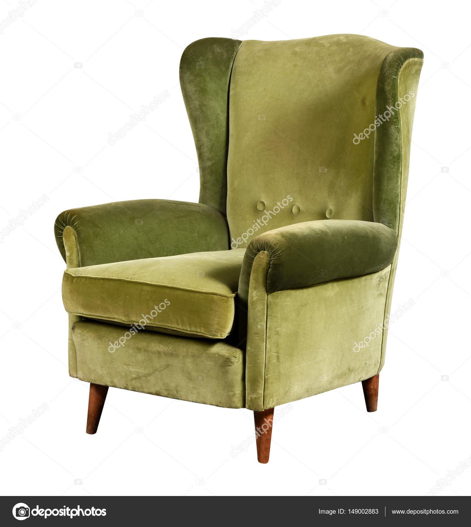 Poltrona in velluto verde con schienale alto — Foto Stock ...