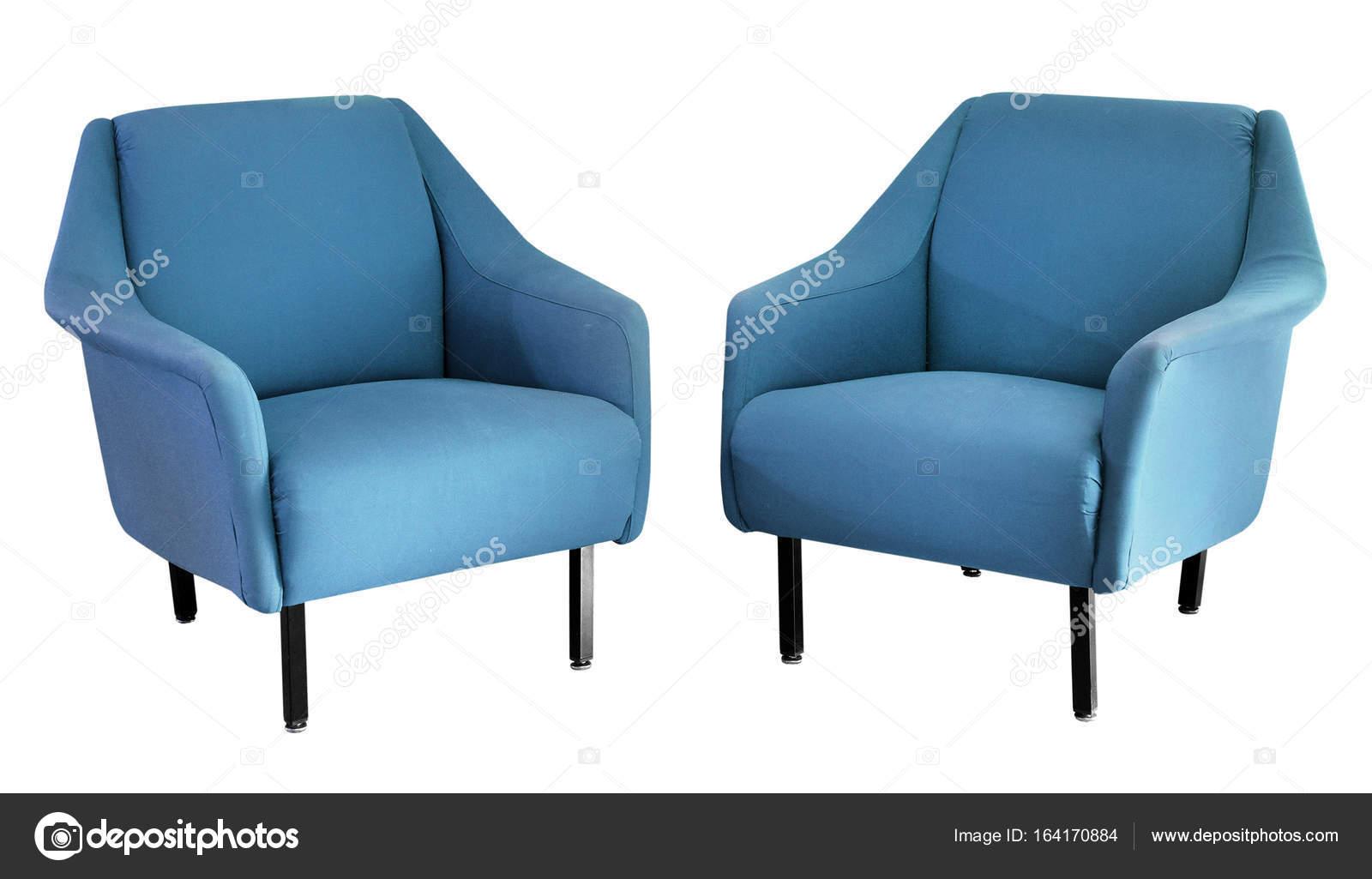 Zwei Gepolstert Blau 50er Jahre Sessel Stockfoto