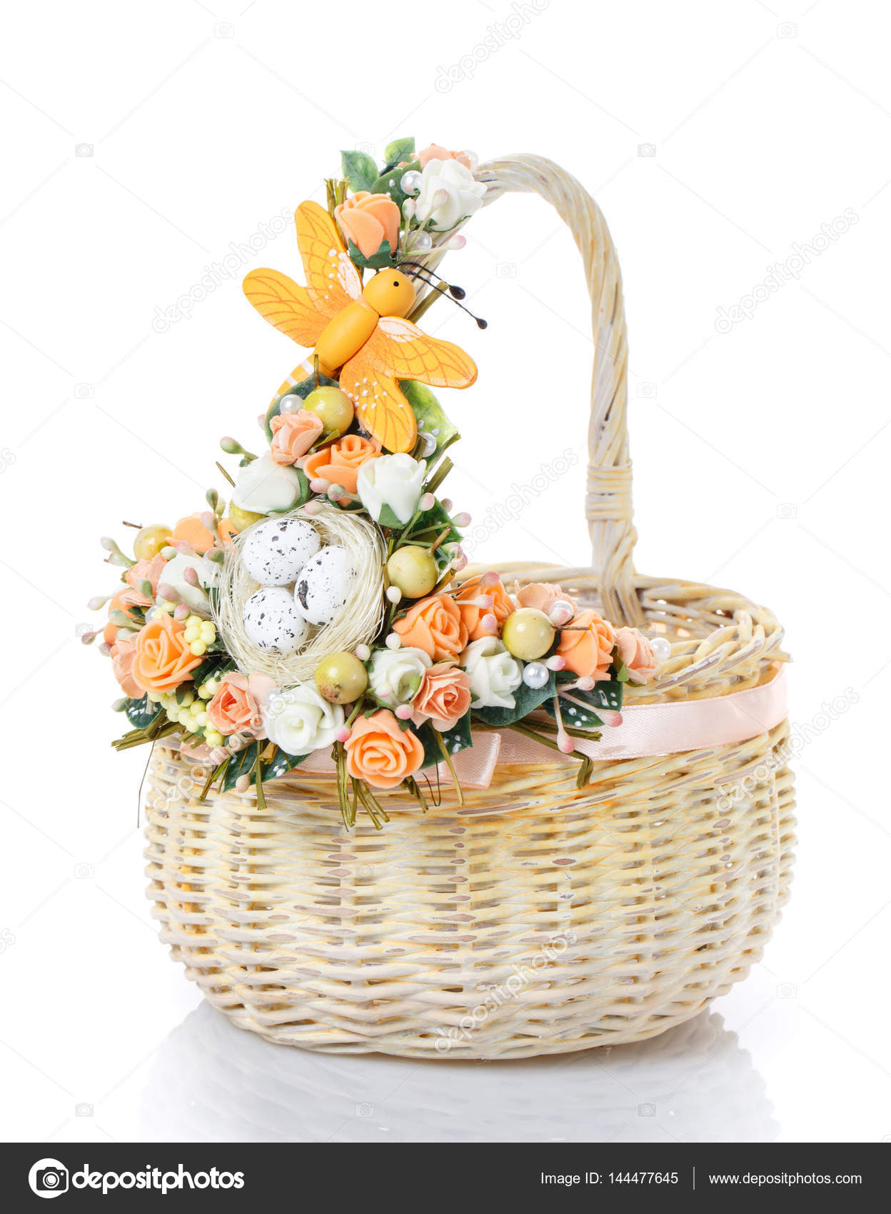 Decorated Empty Wicker Basket On A White Background Stock