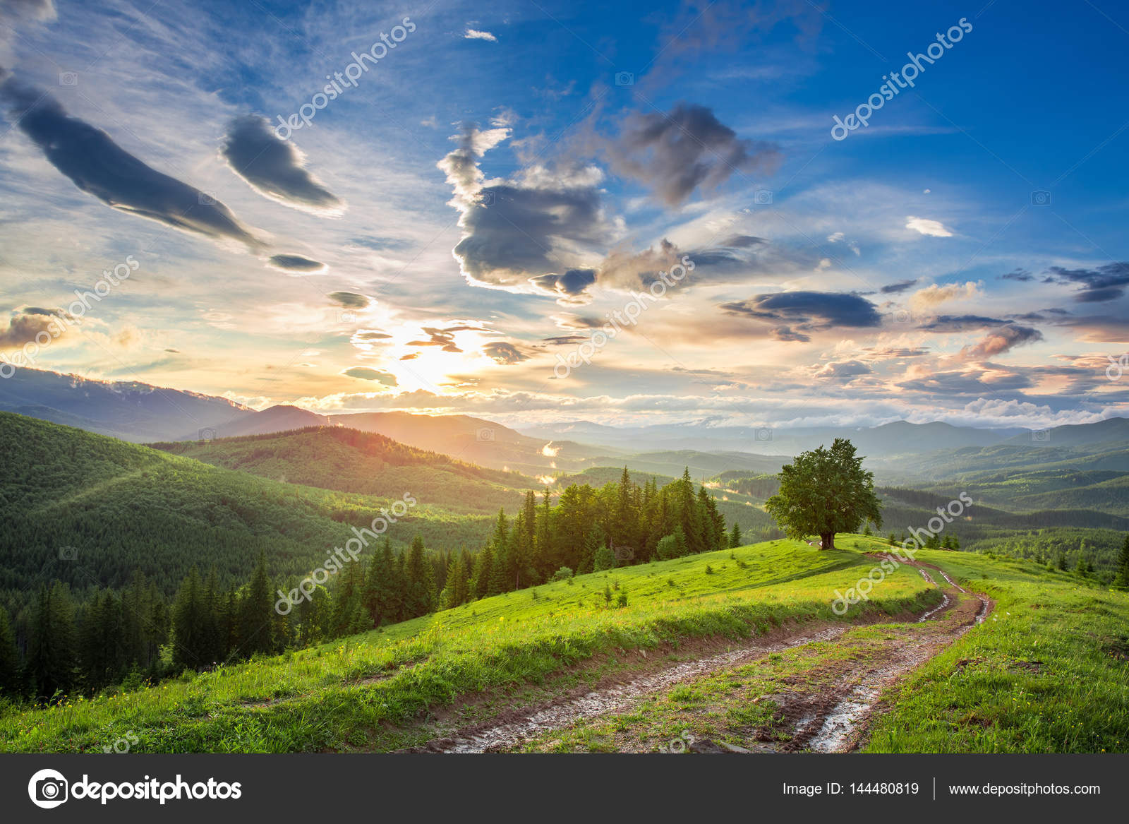 Landscape Beautiful Sunset In The Mountains Stock Photo