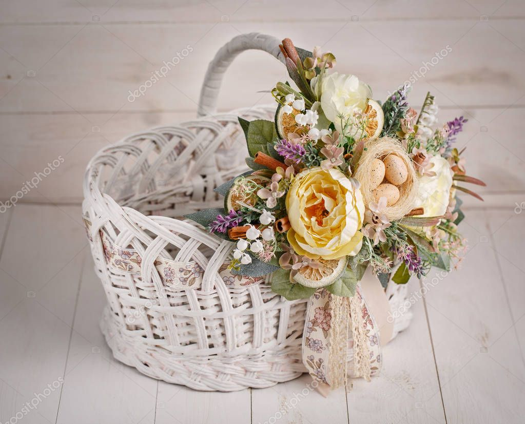 Decor for celebrating Easter. Easter basket