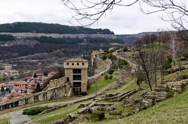 Springtime panorama of a ruins of Tsarevets, medieval stronghold located on a hill with the same name in Veliko Tarnovo, Bulgaria, Europe