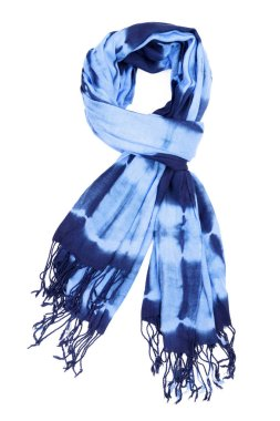 Blue wool scarf isolated on white background.