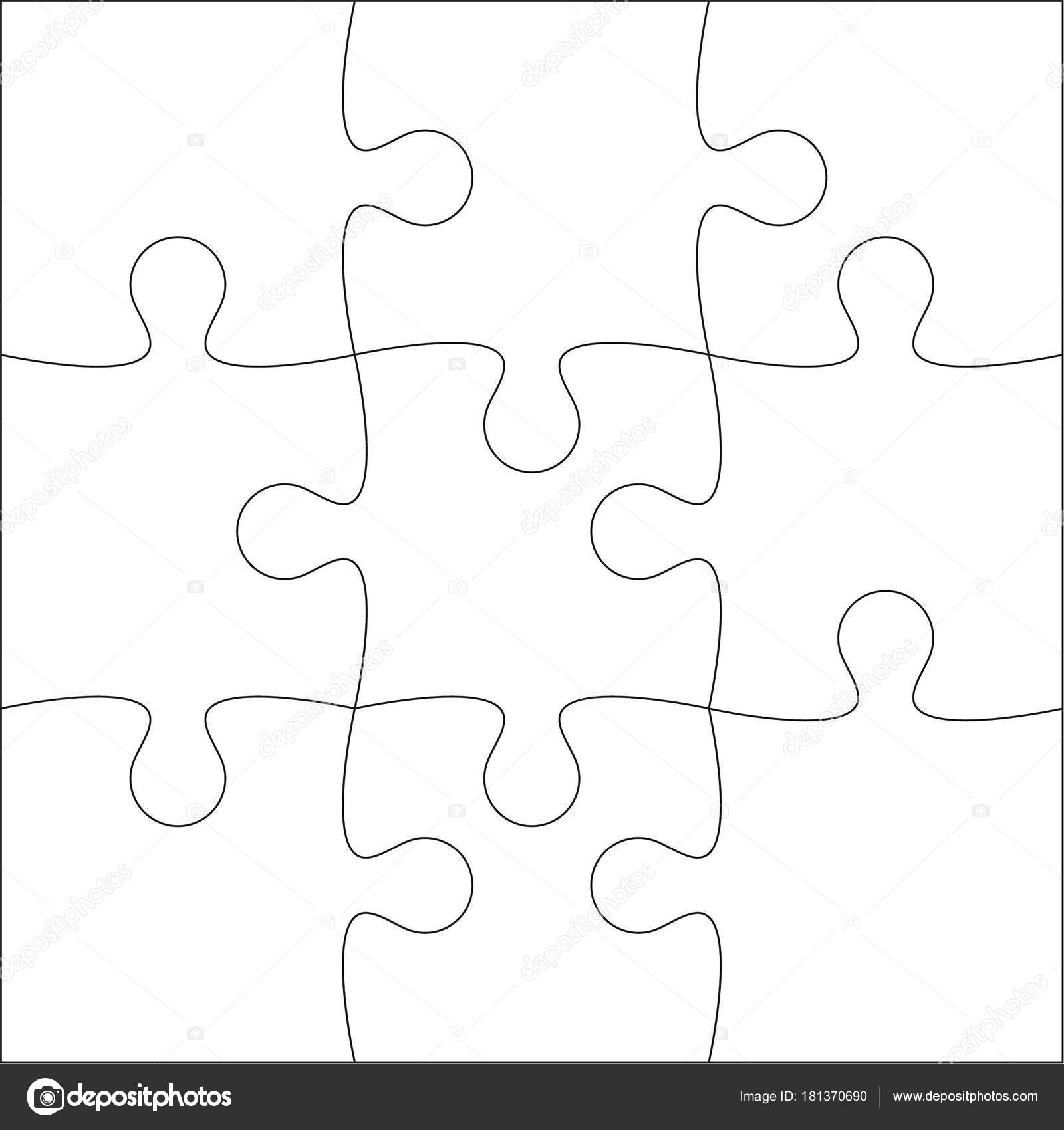 Jigsaw Puzzle Blank Template Or Cutting Guidelines Of 9 Pieces Plain White On Background Vector Illustration By Sumkinn