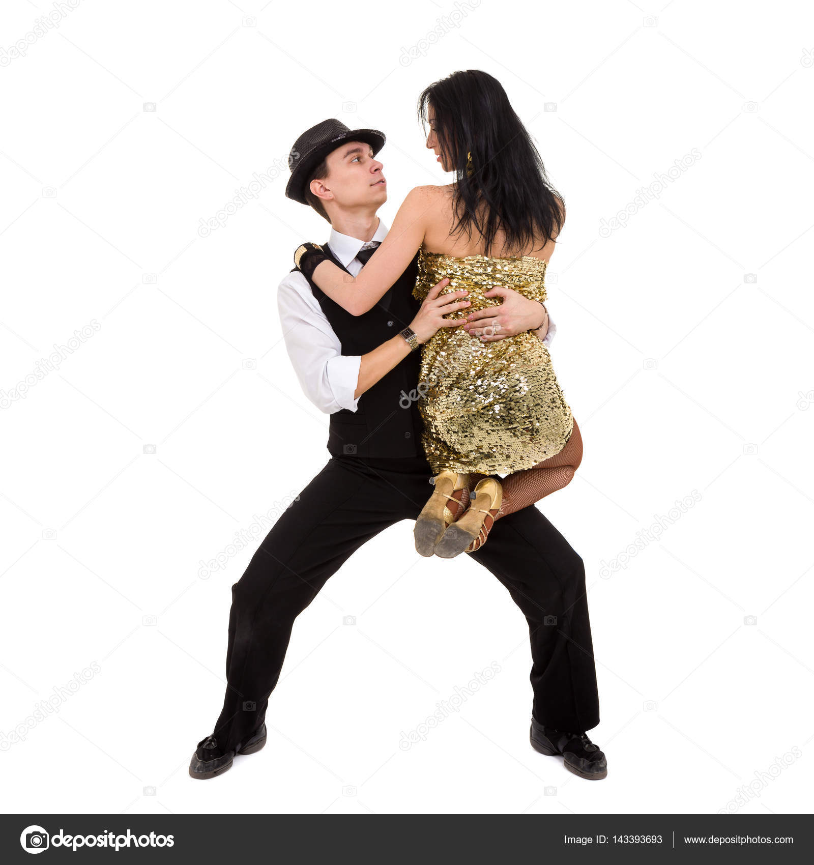 273802a92c243 Cabaret dancer couple dancing. Isolated on white background in full  length.– stock image