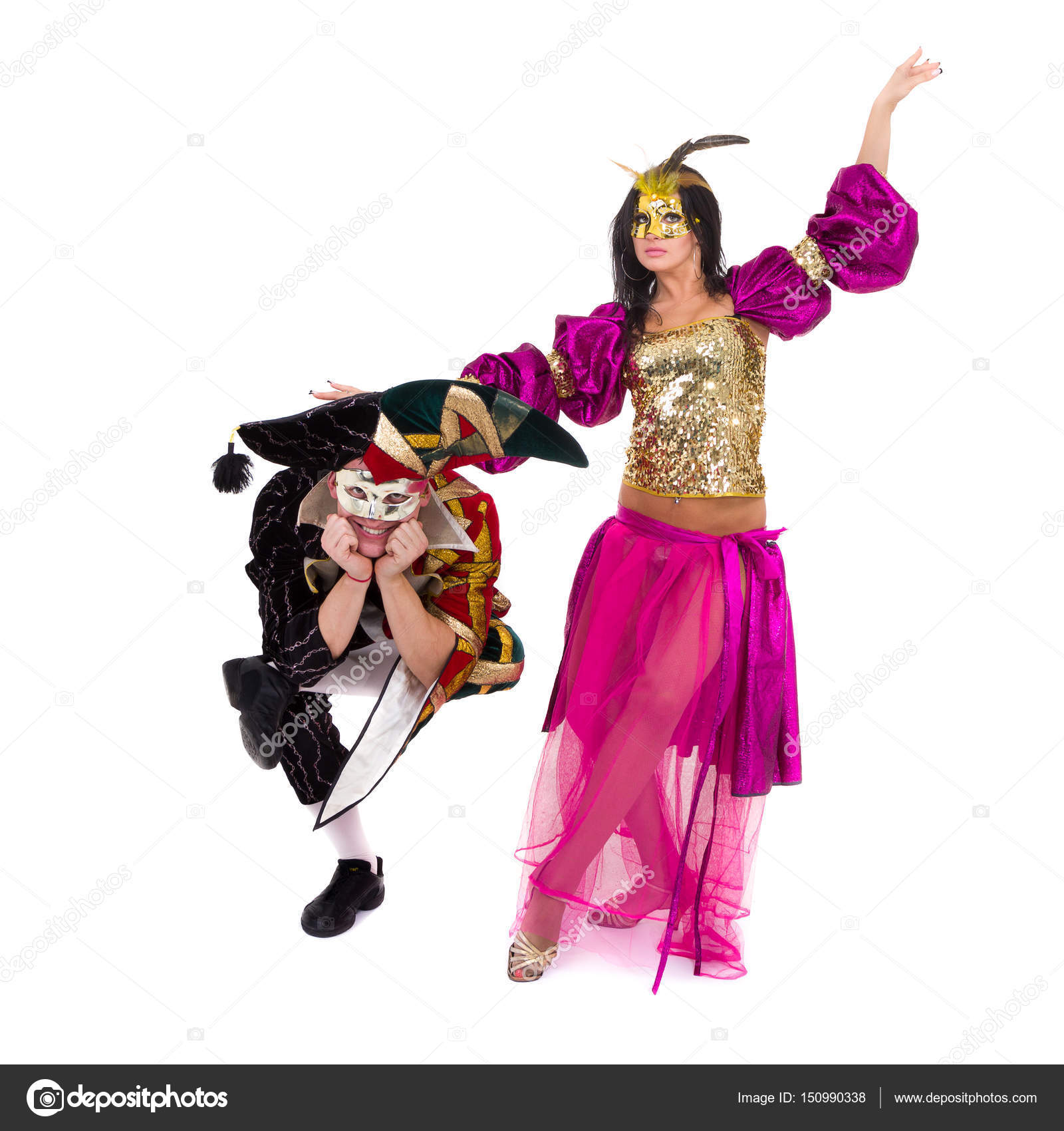 bailarines del carnaval de equipo un baile de máscara, aislados en ...