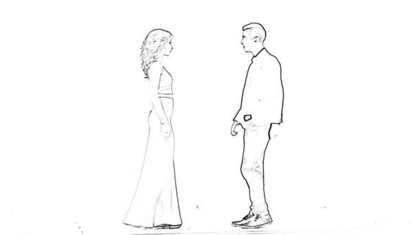 animace elegantní pár tančící na bílém