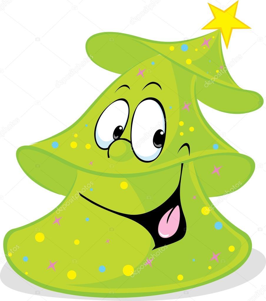 Funny vert no l sapin arbre souriant isol vector illustration de dessin anim image - Dessin sapin vert ...