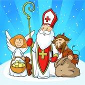 Svatý Mikuláš, čert a anděl - kreslené vektorové ilustrace