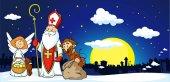 Sv. Mikuláš, čert a anděl ve městě - vektorové ilustrace. Během vánoční sezóny jsou varování a trestání zlých dětí a dávat dárky pro hodné děti