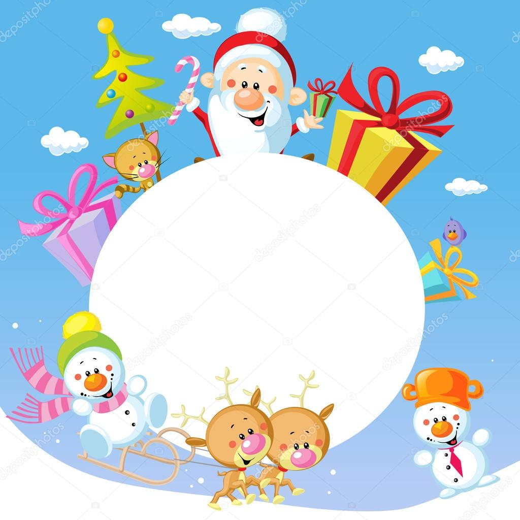 Merry Christmas frame design with Santa Claus Sleigh, Christmas Tree ...