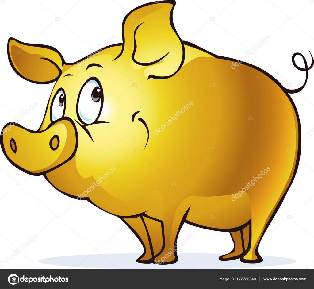 Funny golden pig symbol of abundance and prosperity vector funny golden pig symbol of abundance and prosperity vector illustration character stock vector buycottarizona