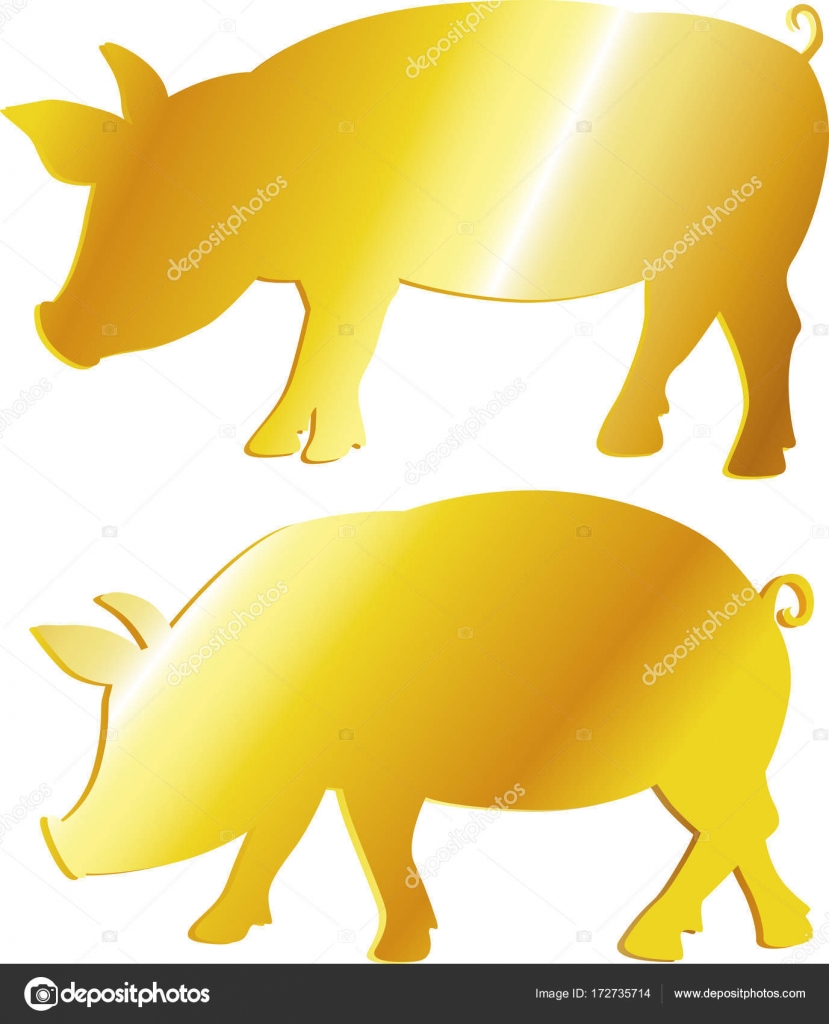 Golden pig symbol abundance prosperity vector illustration golden pig symbol abundance prosperity vector illustration vector by hanaschwarz buycottarizona